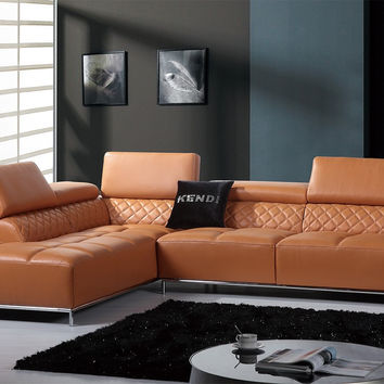 Divani Casa Citadel Modern Orange Italian Leather Sectional Sofa w/ Audio System
