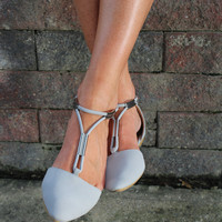 Gray Pointed Toe Flat