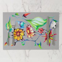 Exotic Art Deco Multicolored Watercolor Flowers Placemat