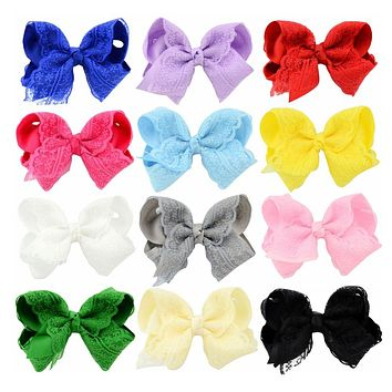 12pcs/lot Fashion Boutique Bows with Clip Grosgrain Ribbon Lace Bow Hairpins Kids Hair Accessories 599