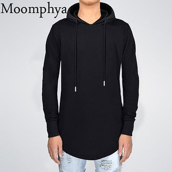 Moomphay 2017 Fall winter men long sleeve hoodies extended Longline curve hem hooded sweatshirt side zip men hip hop hoodie