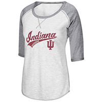 Womens NCAA Indiana Hoosiers 3/4 Sleeve Baseball Shirt (Heather Grey) - XL