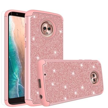 Motorola Moto G6 , Moto G6 2018 Case, Moto G6 , Moto G6 2018 Glitter Bling Heavy Duty Shock Proof Hybrid Case with [HD Screen Protector] Dual Layer Protective Phone Case Cover for Motorola Moto G6 , Moto G6 2018 - Rose Gold
