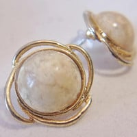 Vintage Beige Button Earrings Cabochon Stone Floral Swirl Jewelry Fashion Accessories For Her
