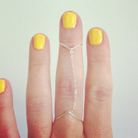 Dainty double wishbone/chevron chain ring - sterling silver wire and chain