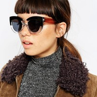 ASOS Cat Eye Sunglasses In Chunky Frame And Mono Brow
