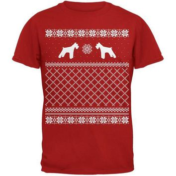 DCCKJY1 Schnauzer Ugly Christmas Sweater Red Adult T-Shirt