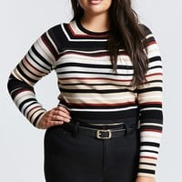 Plus Size Stripe Raglan Sweater