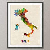 Italy Watercolor Map, Italia Map, Art Print 18x24 inch (433)