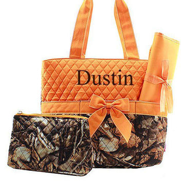 Orange Camo Diaper Bag for Girl or Boy Diaper Bag Monogrammed Diaper Bag  Personalized Diaper Bag