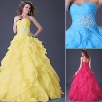 Ruffle Organza Prom Wedding Ball Gowns Evening Formal Long Dress Red/Yellow/Blue