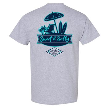 Coastlines Designs Sweet & Salty on a Sports Grey T Shirt