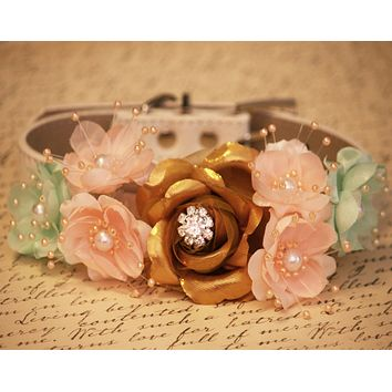 Gold, soft peaches and green wedding Dog Collar, Pet wedding accessory
