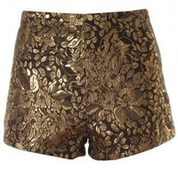 Gold Thread & Black Brocade Floral Print Tailored Shorts - Clothing from Lavish Alice UK