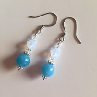Stainless steel earrings, beaded earrings, drop earrings, dangle earrings, silverbymaggie, aquamarine earrings, crystal earrings, earrings