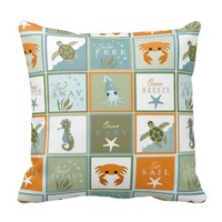 Ocean Patchwork Throw Pillows