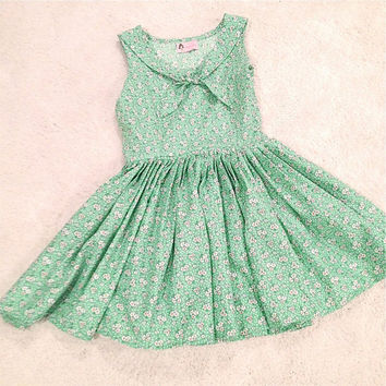 Green Sailor inspired floral sundress