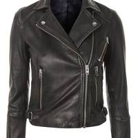 Washed Leather Biker Jacket - Jackets & Coats - Clothing
