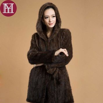 Elegant women winter knitted real mink fur jacket with hooded female 100% natural mink fur outerwear long style coat