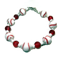 Beaded Red, White and Silver Baseball Bracelet