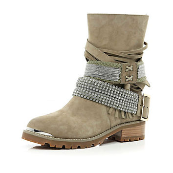 Beige multi strap rhinestone biker boots - ankle boots - shoes / boots - women