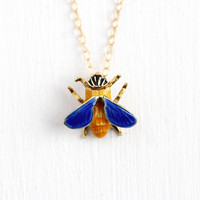 Vintage Bee Pendant - 1950s Mid Century 14k Rosy Yellow Solid Gold Charm Necklace - Figural Insect Bug Bumblebee Blue Yellow Enamel Jewelry