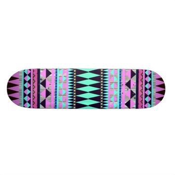 Abstract Andes Aztec Pattern Teal Pink Pastel Wood Skateboard Deck