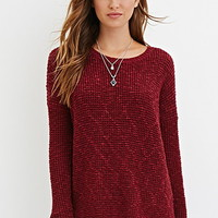 Crochet-Paneled Longline Sweater