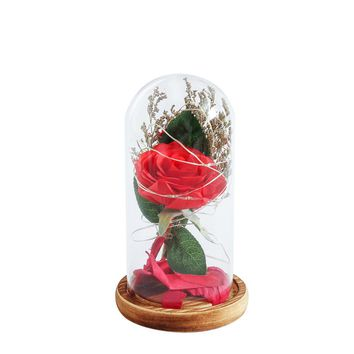 Glass Dome Lamp Display Dome String LED Preserved in Glass Dome on Wooden Base for Valentine