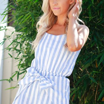 Striped Tie Romper Light Blue