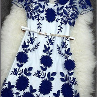Sexy Handmade Embroidered Flowers Hollow Lace Dress