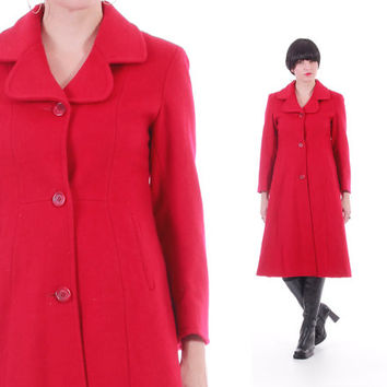 Red Wool Princess Coat 80s 90s Vintage Winter Outerwear Long Fit and Flare A-Line Swing Coat Womens Size Small