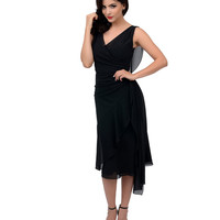 Iconic by UV 1930s Style Black Crepe Ziegfeld Gown