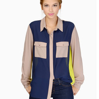 Khaki Blue Yellow Color Block Blouse - Sheinside.com