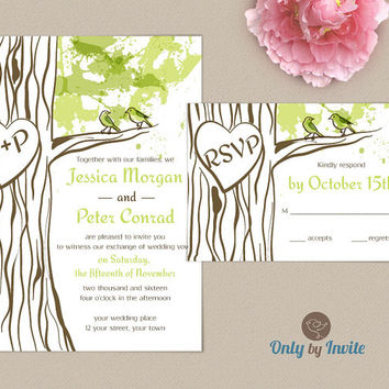 Oak Tree Wedding Invitation Set Personalized | Carved Heart Forest Wedding | Woodland Invitation