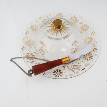 Vintage Cheese Dish with Cover and Knife Georges Briard Covered Cheese Dish 24K Gold Plated Mid Century Georges Briard Serving Platter