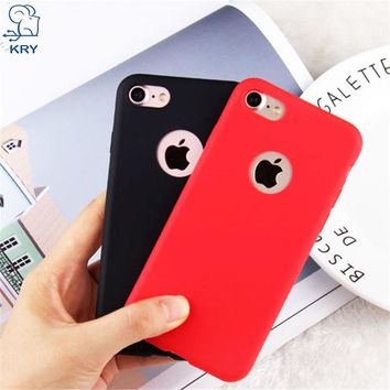 KRY Cute Phone Cases For iPhone 7 Case 7 Plus Candy Colors Soft TPU Silicon Cover For iPhone 6 6s 5 5s SE 7 7 Plus Coque Capa