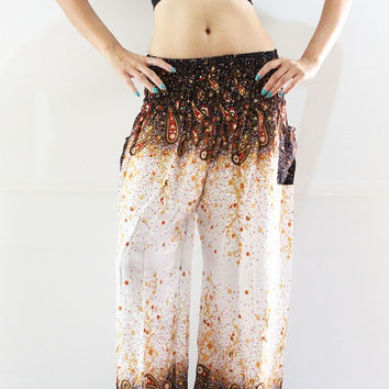 white yoga pants harem pants women gypsy trousers charming paisley print fit all