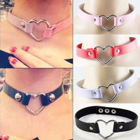 1pcs Punk Goth Rivet Handmade Chain PU Leather O-Ring Heart Choker Necklace = 1931959364