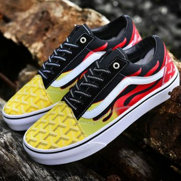 "Vans Old-Skool ""Flame Pack Custom GOyard Co-op Gradient Flames Trendy Sneakers F-CSXY"