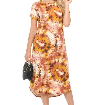 A-Line Short Sleeve Midi Dress Floral and Tie Dye Print