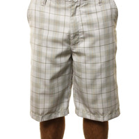 "Quiksilver Men's ""Its All Good"" Plaid Shorts Back Pocket Logo White"