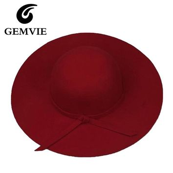 100% Pure Cashmere Wool Felt Hats Women Solid Wide Large Brim Women Fedora Hat Vintage Floppy Pattern Cap Female new year gifts