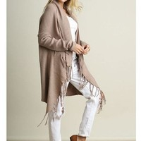 Keep Me Warm Mocha Brown Fringe Open Knit Cardigan
