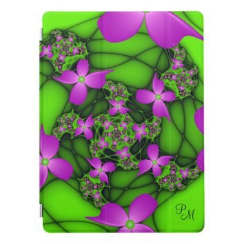 Modern Neon Pink Green Fractal Flowers Monogram iPad Pro Cover