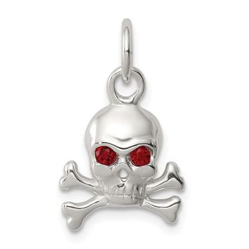 925 Sterling Silver Red Cubic Zirconia Skull Charm and Pendant