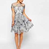 Chi Chi London Petite Midi Prom Dress with Delicate Embroidery