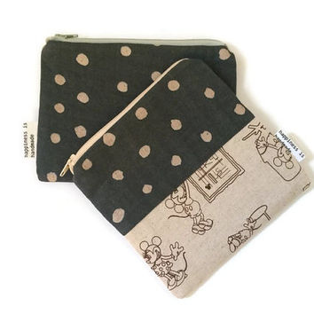 Polka Dot Zip Pouch - Matching Pouches - Pouch GIft Set - Makeup Bag - Zipper Wallet - Cute Coin Purse - Kids Wallet - Organizer - Kawaii