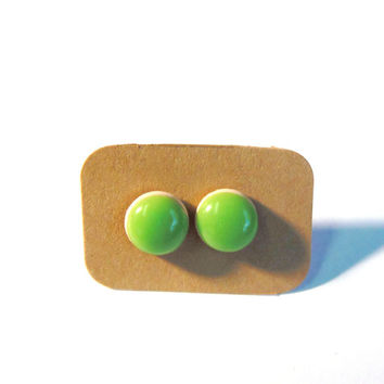 Tiny stud earrings pea green earring studs polymer clay and resin earrung studs - small stud earrings