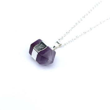 Amethyst Double Point Pendant Necklace, Long Boho Necklace, Amethyst Necklace, Crystal Necklace, February Birthstone Jewellery
